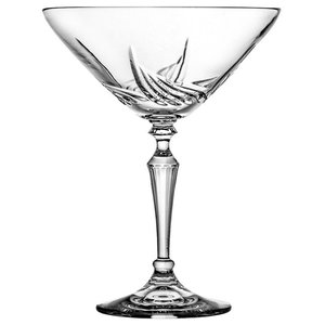 Lead Crystal Martini Glasses With Flame Cut, Set of 6