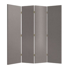 Contemporary Folding Room Divider, Double Sided Grey Fabric on MDF Frame