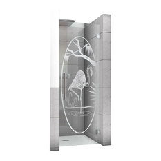 """Hinged Alcove Shower Door With Flamenco Design, Non-Private, 32""""X75"""", Right"""
