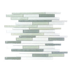 Blue Gray Thin Linear Glass Mosaic Wall Tile, Sample