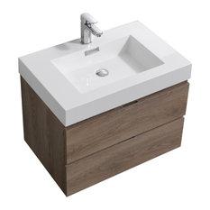 Bliss 30-inch Wall Mount Bathroom Vanity Butternut