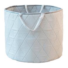 Grey Gingham Toy Basket