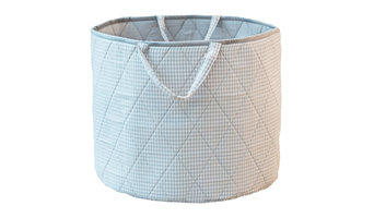Grey Gingham Toy Basket