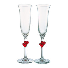 Stolzle L'Amour Red Heart Champagne Flutes, Set of 2