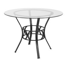Round 42-inch Glass Dining Table with Metal Frame in Black Finish