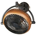 whoselamp - 8-inch Wall Fan Walnut Finish - Description: