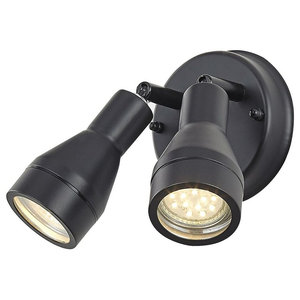 Outdoor IP44 Adjustable Double Spot Wall Light in Matt Black