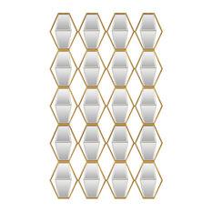 Large Midcentury Diamond Hexagon Grid Mirrored Wall Art, Sculpture Open Panel