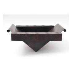 "17"" Rectangular Apron Hammered Copper Bathroom Sink"