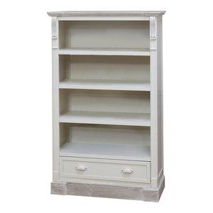 Cream Tall Vintage Bookcase with Drawer Storage - Lyon Range