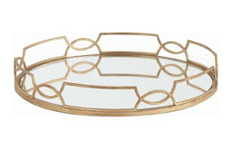 Arteriors Home, Cinchwaist Gold Iron With Mirror Tray