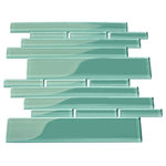 """Giorbello - 9.5""""x10.5"""" Glass Club Tiles, Set of 11, Teal - Water Resistant Glass - Ideal for Kitchens and Baths"""