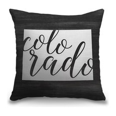 """""""Home State Typography - Colorado"""" Pillow 18""""x18"""""""