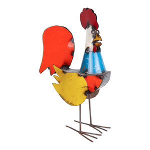 Recycled Metal Rooster, Multicolor, Large