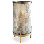 "Napa Home & Garden - Jerome Antique Brass Hurricane 14.5"" - Our Jerome Hurricane pairs a linear glass pattern with polished brass. A contemporary look. Designed with glass vases, not hurricanes so as to hold fresh florals as well as candles."