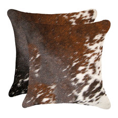"""18""""x18"""" Torino Kobe Cowhide Pillows, Set of 2, Salt and Pepper/Brown and White"""