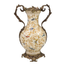 Fall Bug Motif Porcelain Handle Vase, Brass Ormolu Accents, 17.5""