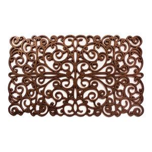 """Bronze Scroll Rubber Doormat 18""""x30"""""""