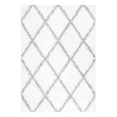 "Soft and Plush Diamond Trellis Moroccan Lattice Shag Rug, 5'3""x7'6"""