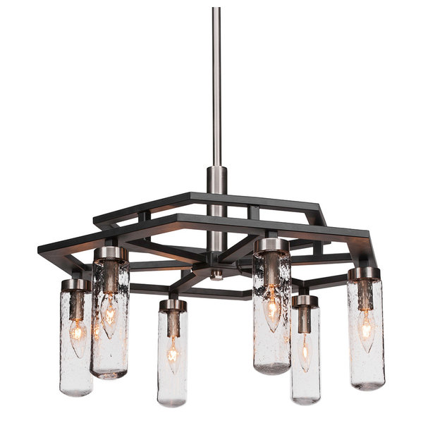 LightUpMyHome Celeste Glass Drop Crystal Chandelier, Oil Rubbed Bronze, Hanging or Flush Mount