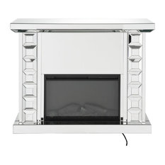 Wood And Glass Electric Fireplace With Touch Panel or Remote Controller, Silver