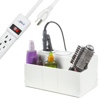 White Crocodile Leatherette Hair Styling Station, With Power