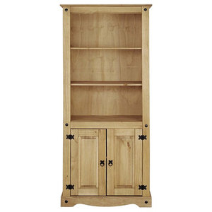 Traditional Storage Cabinet in Solid Pine Wood with 3 Open Shelves and 2 Doors