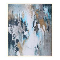 Oversize Modern Art Abstract Teal Blue Painting Gold Silver Metallic Wall Art