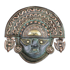 Handmade Ai Apaec with Ritual Crown Copper mask - Peru