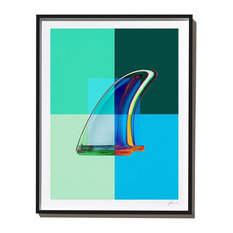 """Blue Green Single Fin"" Surf Art Photograph, Black Frame, 40''x52''"