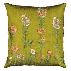 Mina Victory Silk Embroidery Botanical Green Throw Pillow