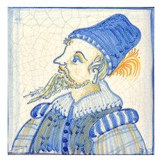 "Man Square Tile, San Donato, Made in Castelli, Italy, 2.4""x2.4"""