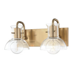 Riley Two Light Bath Light - Aged Brass Finish - Clear Glass