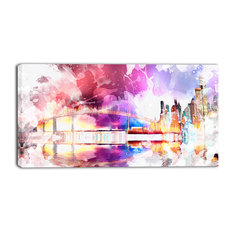 """Magic Colorful City Art Night"" Canvas Painting"
