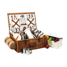 Dorset Basket For Four With Coffee Set And Blanket, Wicker W and Santa Cruz