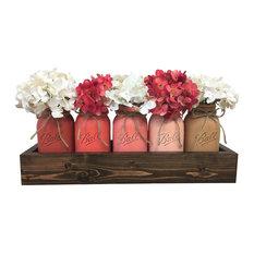 Peach Blossom Quart Mason Jars Planter Box Centerpiece, 6 Piece Set