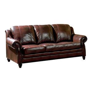 Casey Top Grain Italian Leather Sofa Traditional Sofas