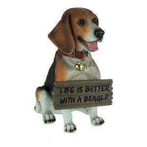 12 inch Charlie the Beagle Dog Realistic Lifelike Statue with Reversible Sign