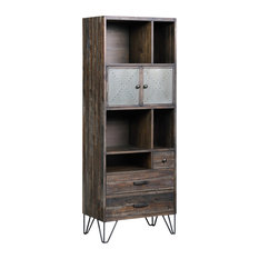 Raider Vintage Gray and Brown 2 Door 3 Drawer Bookcase and Pier