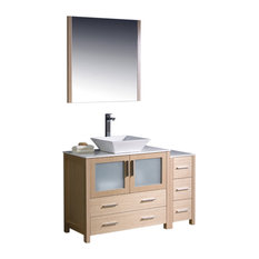"Torino 48"" Light Oak Vanity, Side Cabinet and Vessel Sink Fortore Chrome Faucet"