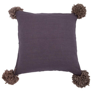 Pom Pom Cushion Cover, Purple, Small