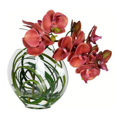 """9.8"""" Orchid In Glass Pot, Pink"""