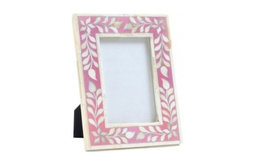 Floral Bone Inlay Picture Frame, Pink/White
