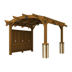 Privacy Wall for Arched Pergola in Redwood Finish