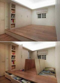 Vos id es sur la conception d 39 un appartement de 36 m2 for Lit coulissant sous estrade