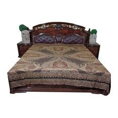 Mogul Interior - Mogul Pashmina Bedspreads Indian Bedding King Size Bed Throw - Blankets