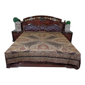Mogul Interior - Mogul Pashmina Bedspreads Indian Bedding King Size Bed Throw - Throws