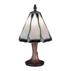 "Mini Table Lamp In Dark Granite, 6.5"" Pearl and Black Flair Tiffany Glass"