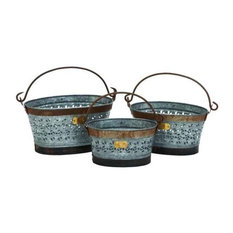 Galvanized Metal Basket Set of 3 16  , 14  , 13 38156