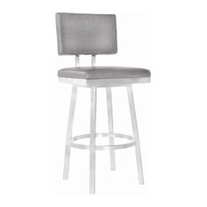 "Balboa 26"" Counterstool, Brushed Stainless Steel and Vintage Gray Faux Leather"